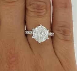 2.35 Ct 6 Prong Pave Round Cut Diamond Engagement Ring Si2 H White Gold 14k