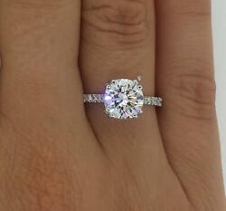 2.05 Ct Double Claw Pave Round Cut Diamond Engagement Ring Si1 G White Gold 14k