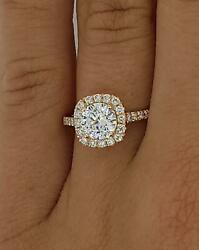 2.15 Ct Pave Halo Round Cut Diamond Engagement Ring Si2 D Rose Gold 18k