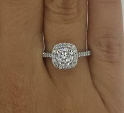 2.15 Ct Pave Halo Round Cut Diamond Engagement Ring Si2 D White Gold 14k