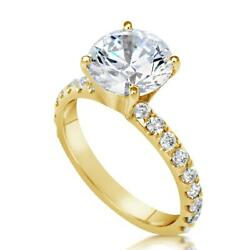 3.25 Ct Pave 4 Prong Round Cut Diamond Engagement Ring Si2 F Yellow Gold 18k