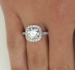 2.05 Ct Pave Halo Round Cut Diamond Engagement Ring Si2 F White Gold 14k