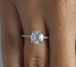1.5 Ct Pave 4 Prong Round Cut Diamond Engagement Ring Vs2 F White Gold 18k