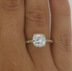 1.75 Ct Cathedral Pave Cushion Cut Diamond Engagement Ring Si1 D Yellow Gold 14k