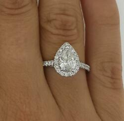 1.65 Ct Pave Halo Pear Cut Diamond Engagement Ring Si2 F White Gold 14k