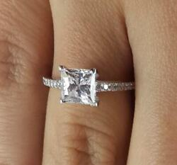 1.5 Ct Pave Cathedral Princess Cut Diamond Engagement Ring Si1 D White Gold 18k
