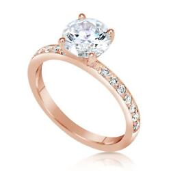 1.3 Ct Pave 4 Prong Round Cut Diamond Engagement Ring Vs1 F Rose Gold 14k