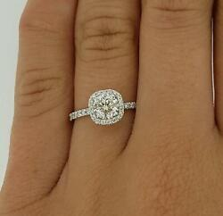 1.6 Ct Pave Halo Round Cut Diamond Engagement Ring Si1 D White Gold 14k