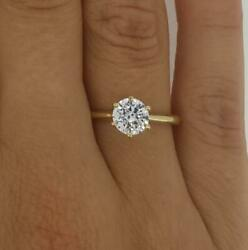 1.75 Ct Classic 6 Prong Round Cut Diamond Engagement Ring Si2 H Yellow Gold 14k