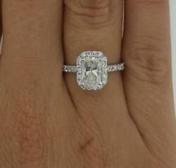 1.75 Ct Halo Pave Radiant Cut Diamond Engagement Ring Si2 D White Gold 14k
