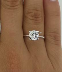 2.25 Ct 4 Prong Solitaire Round Cut Diamond Engagement Ring Si2 G White Gold 18k