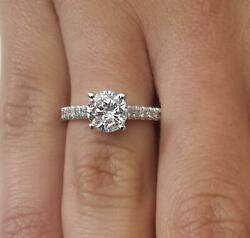 1.75 Ct Pave 4 Prong Round Cut Diamond Engagement Ring Vs2 F White Gold 14k