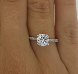 1.75 Ct Double Claw Pave Round Cut Diamond Engagement Ring Vs2 D White Gold 14k