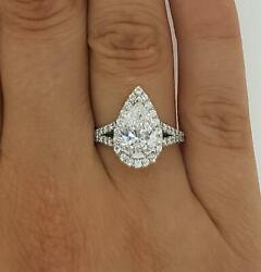 2.25 Ct Halo Split Shank Pear Cut Diamond Engagement Ring Si1 D White Gold 18k