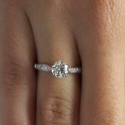 1.75 Ct Pave 4 Prong Round Cut Diamond Engagement Ring Si1 G White Gold 14k