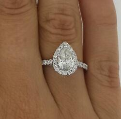1.65 Ct Pave Halo Pear Cut Diamond Engagement Ring Si1 F White Gold 14k