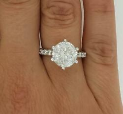 2.1 Ct 6 Prong Pave Round Cut Diamond Engagement Ring Si1 G White Gold 14k