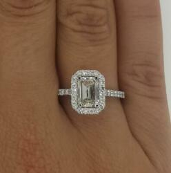 1.95 Ct Cathedral Halo Emerald Cut Diamond Engagement Ring Si1 G White Gold 18k