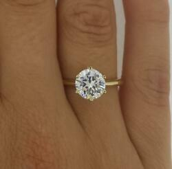1.75 Ct Classic 6 Prong Round Cut Diamond Engagement Ring Si2 H Yellow Gold 18k