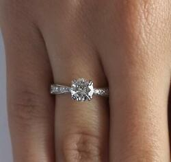 1.75 Ct Pave Double Claw Round Cut Diamond Engagement Ring Si2 D White Gold 14k