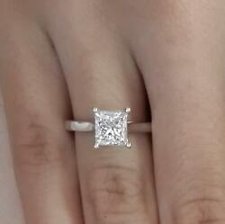 1.25 Ct Cathedral Solitaire Princess Cut Diamond Engagement Ring Vs2 F 14k