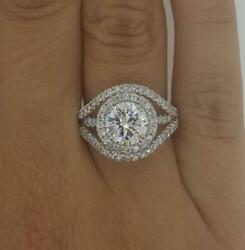 2.5 Ct Multi Row Halo Round Cut Diamond Engagement Ring Si2 D White Gold 18k