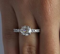 1.25 Ct Shared Prong Round Cut Diamond Engagement Ring Vs1 F White Gold 14k
