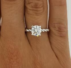 1 Ct Twist Rope Round Cut Diamond Solitaire Engagement Ring Vs2 D White Gold 14k