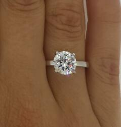 1.25 Ct 4 Prong Solitaire Round Cut Diamond Engagement Ring Si2 D White Gold 14k