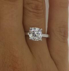 1.5 Ct 4 Prong Solitaire Cushion Cut Diamond Engagement Ring Si2 D White Gold