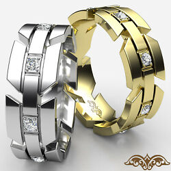 Infinity Arrow Diamond Eternity Menand039s Pave Set Wedding Band In Gold Ring 0.40ct.