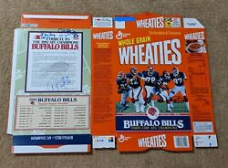 Buffalo Bills Auto Autographed Signed By 5 Factory Flat Wheaties Cereal Box Coa