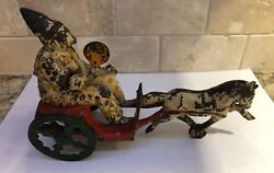 Antique Fanning Clown With Chariot Horse Cast Iron Toy Very Rare Rare.