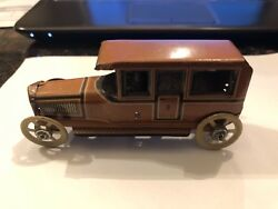 Rare Tin German Penny Toy Car And Driver, George Fischer