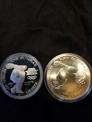 1983 Us Mint 90 Commemorative Dollar Proof And Uncirculated Capsule's Only