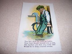 1910s The Plumber Lazy Man Antique Insult Comic Postcard