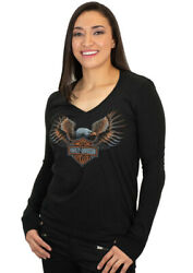 Harley Davidson Womens Speed Eagle Wings Black Long Sleeve V Neck T Shirt $16.99