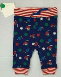 Nwt Baby Boden Boys 0-3 Months Blue Farm Tractor Apple Print Reversible Pants