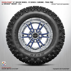 Set Of 4 Double Take Chrome Blue 57 Series Lifted Wheel And Tire 12 Golf Cart