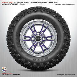 Set Of 4 Double Take Chrome Purple 57 Series Lifted Wheel And Tire 12 Golf Cart