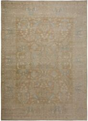 New All-over Oushak Turkish Area Rug Vegetable Dye Gold Brown Antique Look 9x12