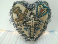 Vintage Sweetheart Pincushion Forget Me Not And Cross