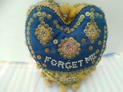 Vintage Sweetheart Pincushion Blue And Yellow Forget Me Not