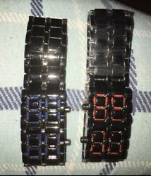 2 Led Watches Men Red And Blue Digital