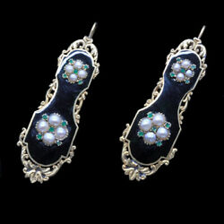 Antique Earrings Gold Pearls Emeralds Georgian Victorian French 5336