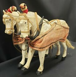 Early 1900's Toy Wooden Circus Parade Horses Articulating Legs Some Paint Loss