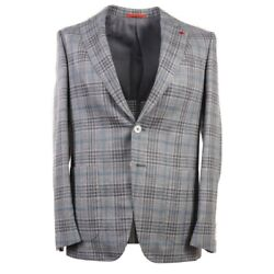Nwt 3495 Isaia Modern-fit Gray Check Wool-silk-linen Sport Coat 38 R Gregory