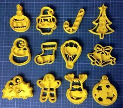 Lot 12 Cookie Cutter Christmas Cookie Stamp - 3d Printed