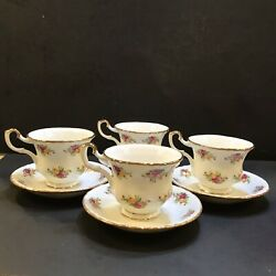 Royal Albert Old Country Roses Lg Coffee Tea Cups And Saucers- England Set Of 4