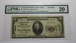 20 1929 Livingston Manor New York Ny National Currency Bank Note Bill 10043